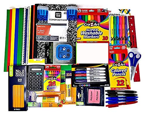 Essential School Supplies Bundle 4th Thru 7th Grades with Markers, Sharpeners, Erasers, Glue Sticks, Earbuds, Folders, Index Cards, Highlighters, Ruler, Calculator, Scissors and Notebooks (25 Items)