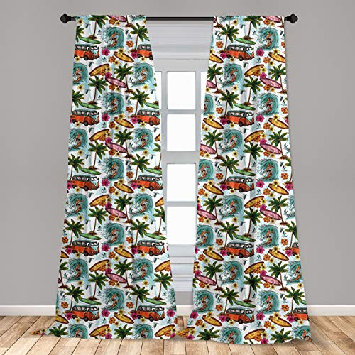 """Ambesonne Ocean Curtains, Hawaiian Surfer on Wavy Deep Sea Retro Style Palm Trees Flowers Surf Boards Print, Window Treatments 2 Panel Set for Living Room Bedroom Decor, 56"""" x 84"""", White Teal"""