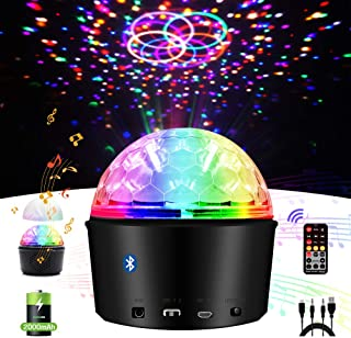 Disco Ball Light,Exulight 9W USB Rechargeable Led Party Lights,9 Colors Sound Activated DJ Projector with Wireless Bluetooth Speaker and Remote Control for Kids Christmas Gifts (Rechargeable)