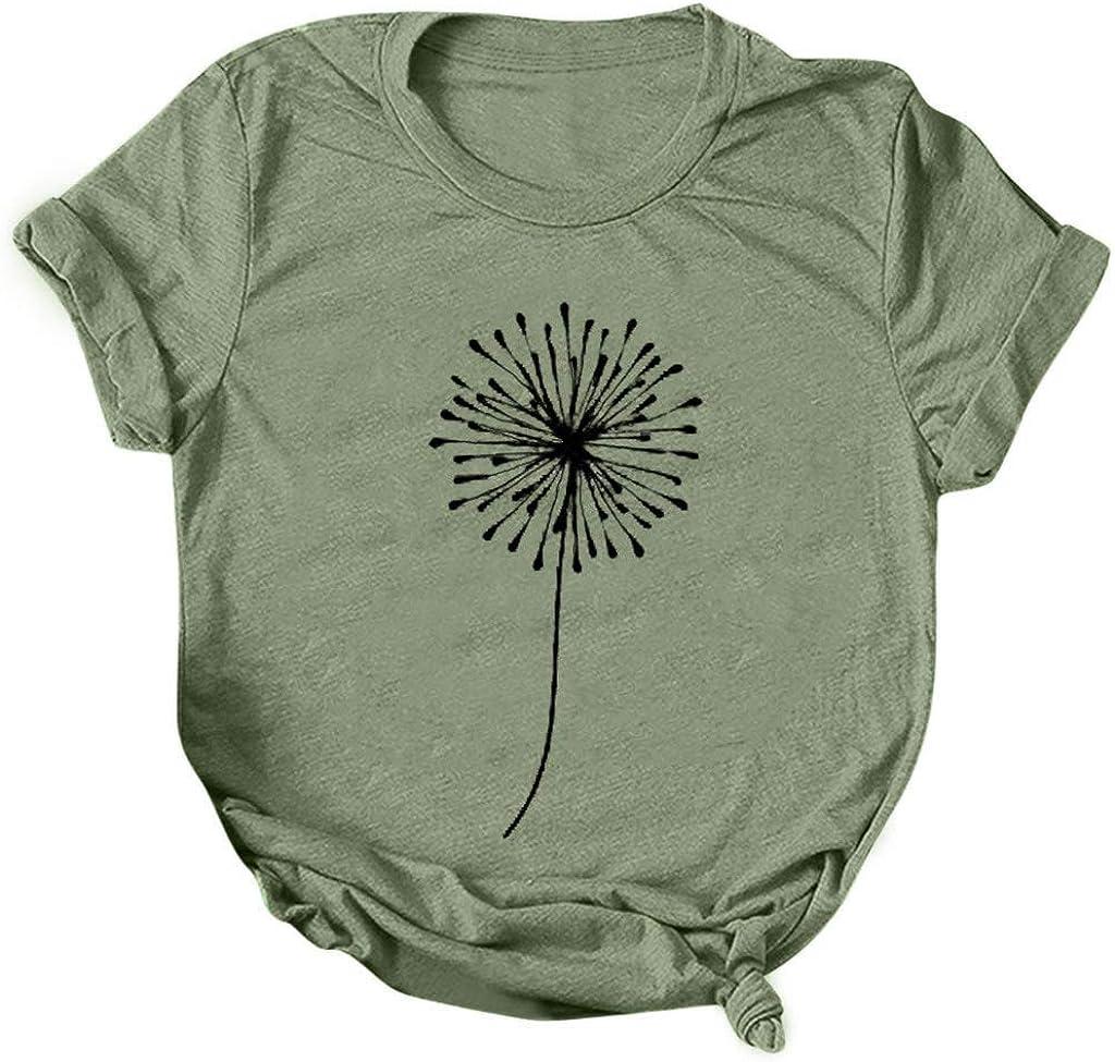Womens Summer Tops,Shirt for Women Sunflower T-Shirt Summer Printed Short Sleeve Tees Tops