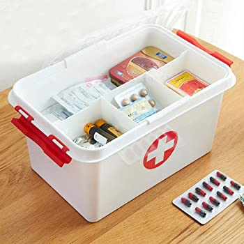 SHOPPOSTREET First Aid Box Lockable Medicine Storage Box Plastic Emergency Cabinet Organizer with Detachable Tray and Handle Portable First Aid Organizer for Home Camping Travel and Car