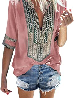 Costura Color de ContrasteTops Mujer Ronamick Lunares O Cuello Camisetas Mujer Manga Larga Blusa Mujer Lunares O Cuello Camisa Mujer?Rosado?XXXL?