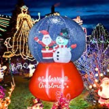 Meland Inflatable Christmas Snow Globe with Santa & Snowman 6FT - Inflatable Christmas Decorations with Light - Christmas Blow up Décor for Indoor Outdoor Yard Garden Lawn Christmas Party