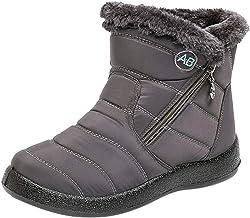 Hotkey Snow Boots for Women, Winter Ankle Short Bootie Casual Zipper Waterproof Footwear Warm Short Plush Outdoor Shoes