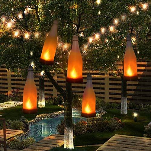 Mixtooltoys 5PCS Solarbetrieben Kork Weinflasche LED Hängende Lampe Flammeneffekt Flasche für Außen dekoration Garten Innenhof Terrasse Spazierweg