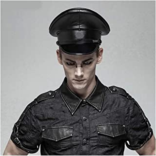 XinQuan Wang 3Size Women Men Military Hat Leather Germany Officer Visor Cap Army Hat Cortical Police Cap Cosplay Halloween Hat