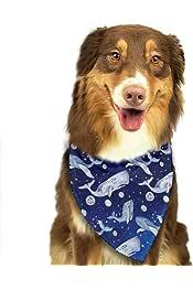 Hipiyoled Bufanda Azul del cumplea/ños del Perrito de la Manera del patr/ón del Espacio de Las Ballenas Bandana del Perro