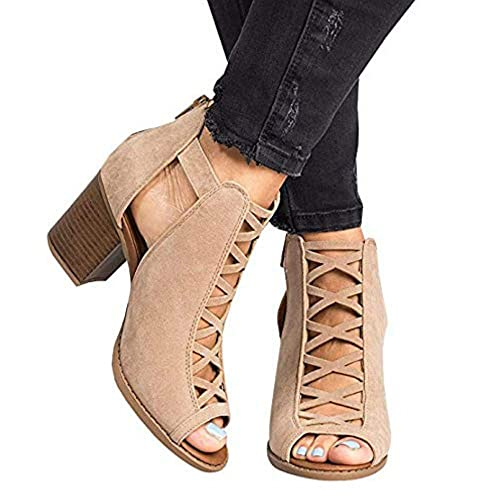 088a70f9df Liyuandian Womens Open Toe Lace Up Strappy Platform High Heel Sandals
