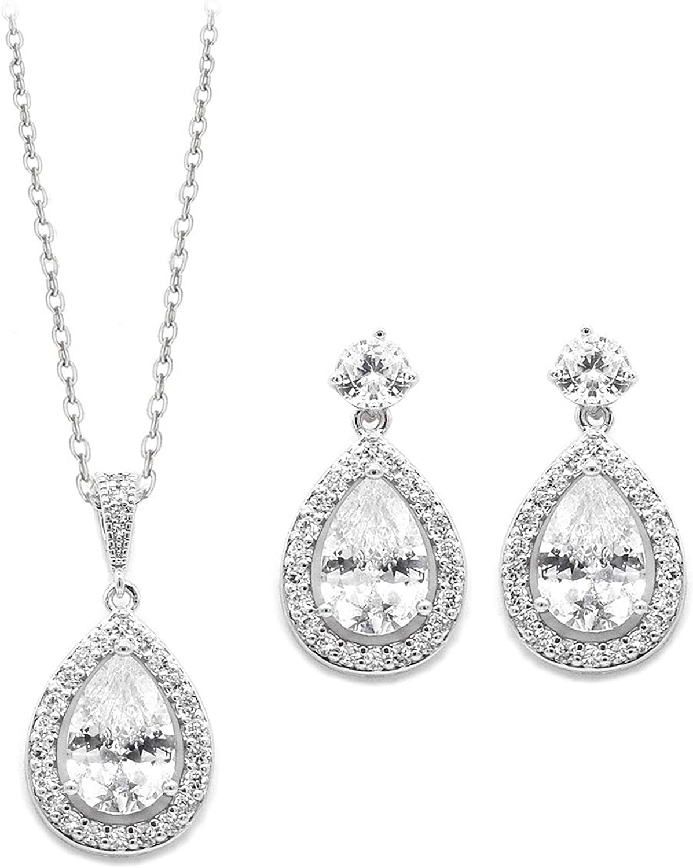 UDORA Zirconia Teardrops Necklace Earrings Jewelry Set Bridal Bridesmaid Wedding Party
