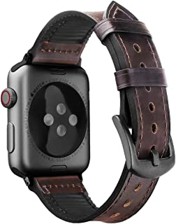 Oitom Leather Silicone Sports XXL XL Band Compatible with Apple Watch 42mm 44mm, Hybrid Sweatproof Replacement Straps Compatible with iWatch Series 4 3 2 1 Men (L/XL/XXL Coffee Brown)
