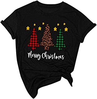 Christmas Shirt for Women Casual Short Sleeve Funny Letter Printed Christmas Hat Graphic Xmas Vacation Tees Tops Blouse