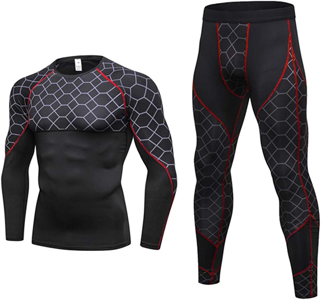 Men Thermal Underwear Sets,Compression Fleece Sweat Quick Drying Thermo Underwear,Male Winter Long Johns