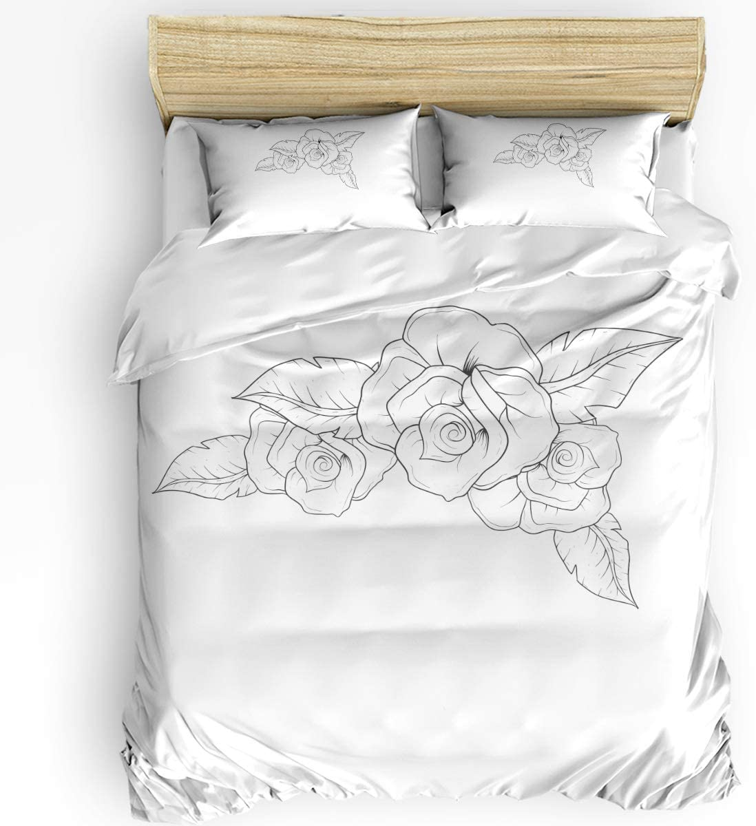 HELLOWINK Duvet Cover 3 Piece Bedding SEAL limited product Size Rose Set Arlington Mall Queen Flowe