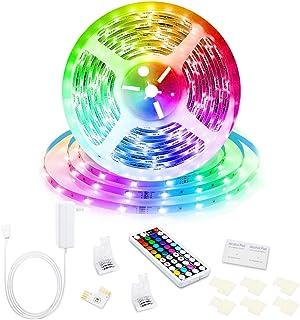 Led Strip Lights, 16.4ft/5M 24V RGB Color Changing Led Strip Lights with 44 Keys RF Remote Controller 5050 LED Rope Lighti...
