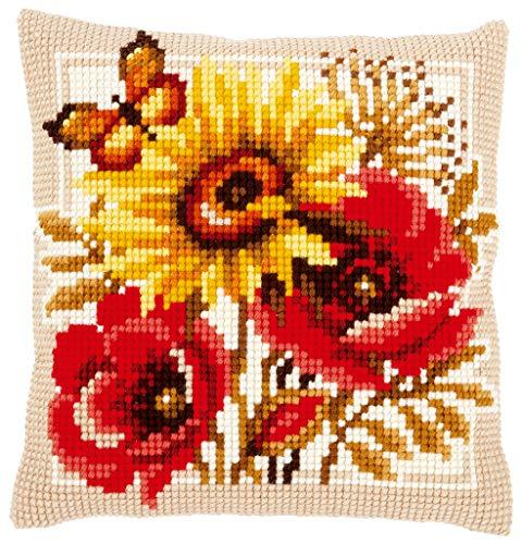 Vervaco 0156043–Ricamo per Cuscino a Punto Croce prestampato, Cotone, Bianco, 40x 40x 0,3cm