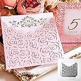 Fustelle per goffratura fai da te, con cornice in metallo a forma di rosa, per album di ritagli, biglietti di carta, stencil, colore: argento