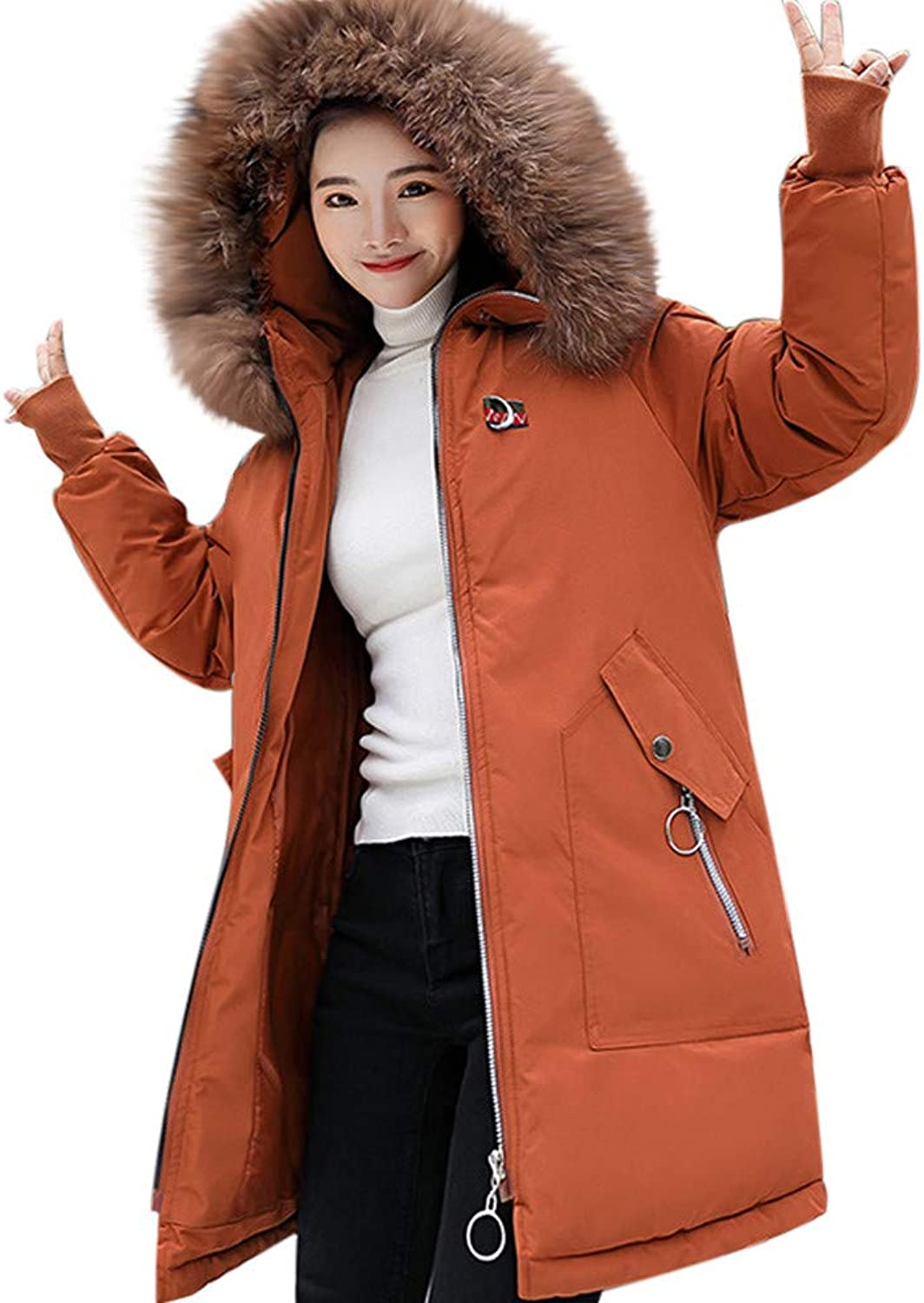 Kangma Women Solid Thicker Winter Slim Warm Embroidery PatternHair Collar Coat Overcoat