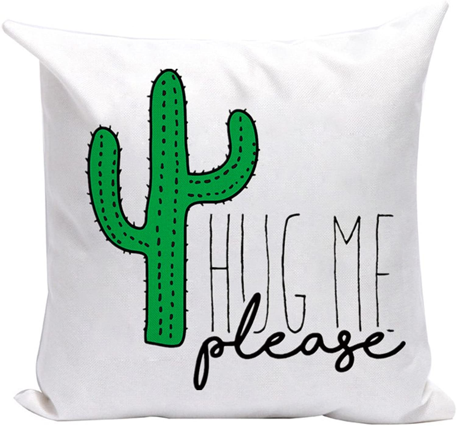 Aremazing Funny Quote White Linen Home Decor Pillowcase Throw Pillow Cushion Cover Words Sofa Couch 18 x 18 inches (Please Hug Me Cactus)