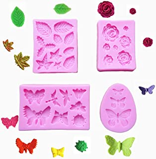 4 Pack Fondant Silicone Molds, Butterfly, Dragonfly, Rose Flower, Leaves Baking Molds Set for Making Candy, Chocolate, Pol...