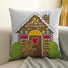 FreeKite Gingerbread Man Silky Pillowcase Cute Gingerbread House with Colorful Candies Cookie Man Graphic Figure Super Soft and Luxurious Pillowcase W16 x L24 Inch Multicolor
