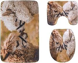 Close Up Portrait of Two Cute Alpacas Bathroom Rug Mats Set 3-Piece,Soft Shower Bath Rugs,Contour Mat and Toilet Seat Lid ...