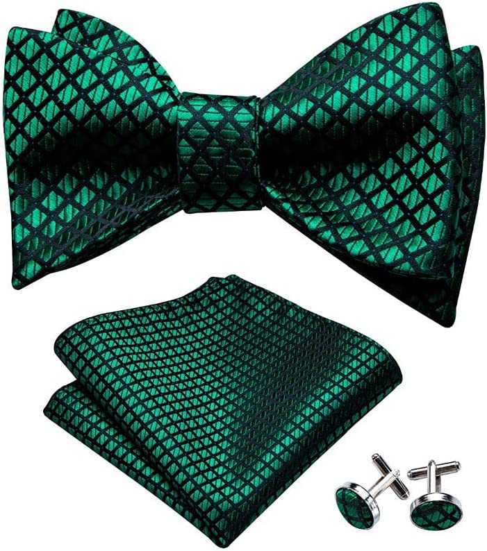 LQGSYT Male Solid Green Butterfly Tie, Silk Butterfly Tie Lattice, Cufflinks Tie Men's Fashion Jewelry (Color : Green, Size : One Size)