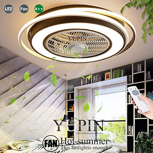 Unsichtbarer Fan Deckenleuchte LED Fan Deckenventilator Moderne Fan Deckenlampe 60W Dimmbar Mit Fernbedienung Für Wohnzimmer Lampe Schlafzimmer Wohnzimmer Kinderzimmer Leise Fan Beleuchtung,Schwarz
