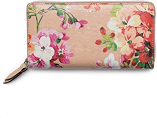 Shanghai St Beige Blooms Apricot Leather Continental Wallet Italy New