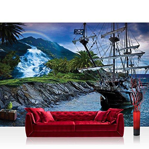 Fototapete 254x184 cm PREMIUM Wand Foto Tapete Wand Bild Papiertapete - Landschaft Tapete Insel Schiff Meer Schatz Regenbogen Wasserfall blau - no. 3005