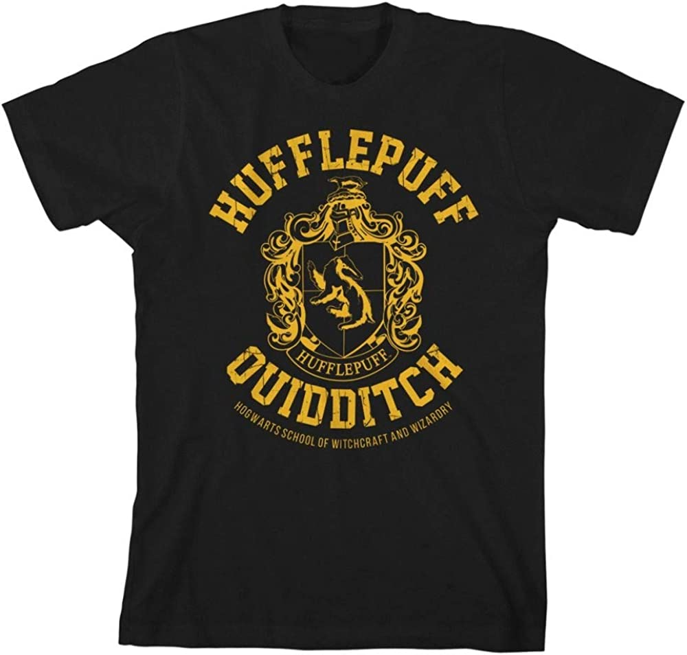 HARRY POTTER Gryffindor Slytherin Ravenclaw Hufflepuff Quidditch Boys Youth T-Shirt