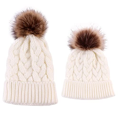 c203881f78c 2PCS Mother Baby Hat Family Matching Cap Winter Warmer Knit Wool Beanie Ski  Cap