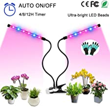 Plant Grow Light, Growing Light for Indoor Plants Auto ON / Off Timer, 8 Dimmable Levels, 4/8/12H Timing Function, 24W LED Grow Lamp for Hydroponics Succulents House Garden(Dual Heads Full Spectrum)