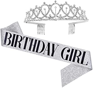 Birthday Girl Sash & Rhinestone Tiara Set - Birthday Gifts Birthday Sash for Women Fun Party Favors Birthday Party Supplies (Glitter Silver/Black)