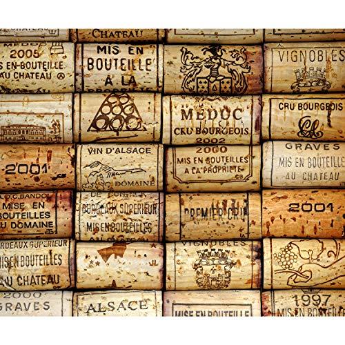 decomonkey Fototapete Wein 400x280 cm XXL Design Tapete Fototapeten Vlies Tapeten Vliestapete Wandtapete moderne Wand Schlafzimmer Wohnzimmer Kork Holz braun
