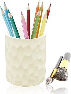 قلم سيليكون وحامل أقلام، حامل فرشاة المكياج، منظم مكتب بسيط وأنيق لللوازم المدرسية المكتبية والمنزل (بلون كريمي أبيض)
