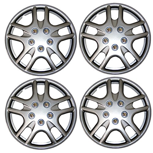 Tuningpros WC3-15-3523-S - Pack of 4 Hubcaps - 15-Inches Style Snap-On (Pop-On) Type Metallic Silver Wheel Covers Hub-caps
