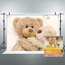 Riyidecor Teddy Bear Dolls Backdrop Fabric Polyester Children Happy Warm Cuddle Cute Lovely Brown Bear Dolls Plush Toys Friends Party 7x5 Feet Baby Shower Newborn Props Party Photo Shoot Backdrop