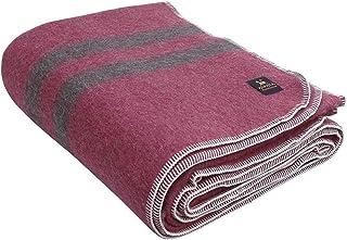 Thick Alpaca Wool Blanket – Heavyweight Alpaca Wool Blanket for Camping Outdoors or Using Indoors   Soft Peruvian Alpaca Wool Blankets (Soft Wine - Brown Stripes, King)