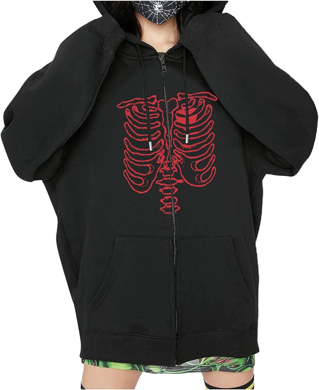 Womens Hoodies Ladies Skull Skeleton Print Hooded Hip-Hop Halloween Zipper Long-Sleeved Sweater Vintage Hoody Sweatshirt