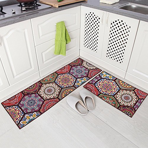 "Carvapet 2 Piece Non-Slip Kitchen Mat Runner Rug Set Doormat Vintage Design Boho Style,Hexagon (20""x59""+20""x31"")"