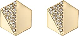 LAUREN Ralph Lauren - Minimal Metal Gold and Pave Hexagon Stud Clip Earrings