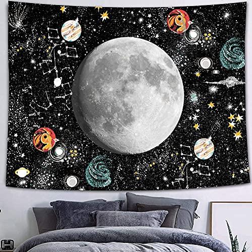 QAWD Tapiz de Mandala Tapiz de Marzo Tapiz de Tema en Blanco y Negro Bohemia Sol Luna Fondo de Tela Manta Tela Colgante A6 180x200cm