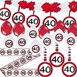 Carpeta 23-TLG. Partyset * 40. Geburtstag * mit Verkehrschild Deko: Girlande + Rotorspiralen + Absperrband und vielen Luftballons Dekoset Dekobox Verkehrsschild
