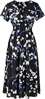 Vestido Midi de Mujer Vestidos de Escote en v de Cintura Alta con Vestido de Verano de Manga Corta con Estampado Retro