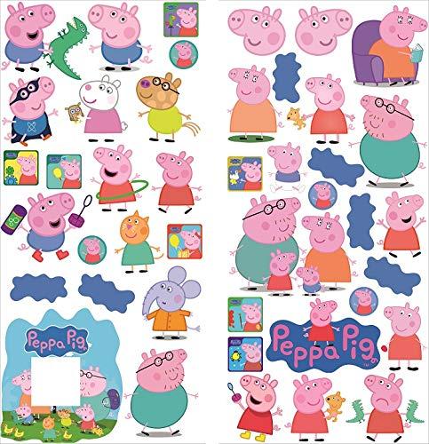 Pegatinas de pared de Peppa Pig para salas de juegos niños y niñas Pegatinas 70cm x 35cm x 2 hojas