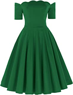 PAUL JONES Women's Off Shoulder Swing Dress Party Picnic Dress