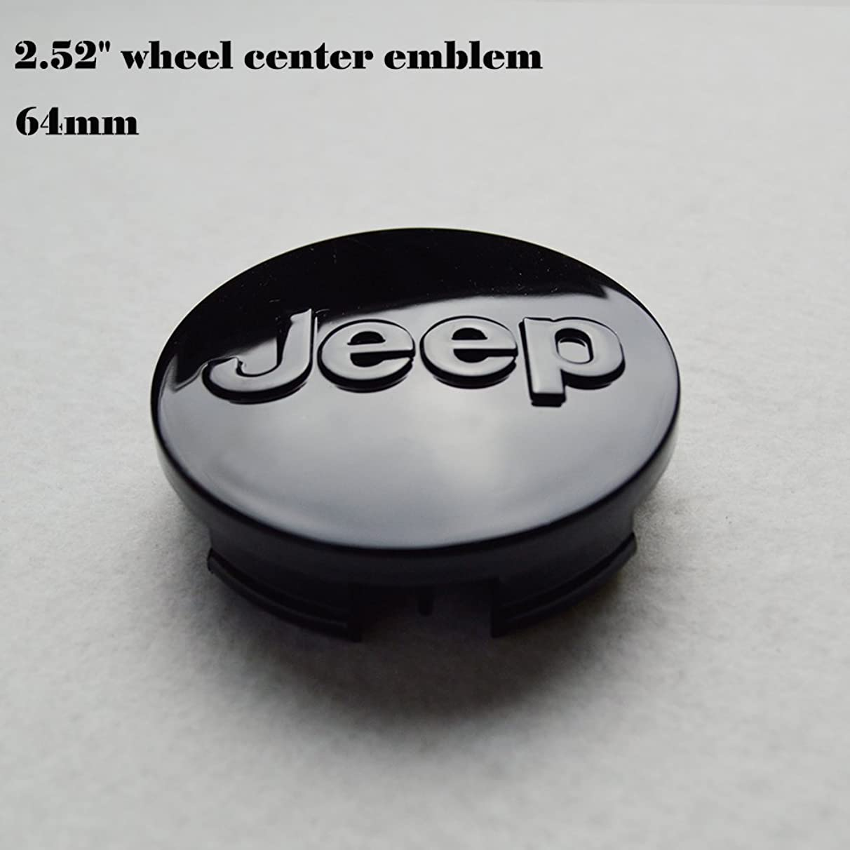 "Hanway 4 pcs 2.52""emblem black logo jeep emblem 64mm Wheel Center Caps Hubcaps For Jeep Grand Cherokee / Jeep Wrangler Rubicon / Liberty"