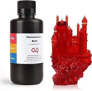 ELEGOO ABS-Like 3D Printer Rapid Resin LCD UV-Curing Resin 405nm Standard Photopolymer Resin for LCD 3D Printing 500Gram Clear Red