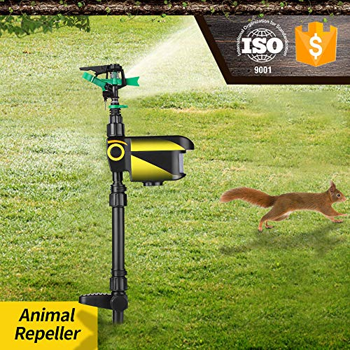 Lawn Sprinkler, KKmoon Solar Powered Motion Activated Animal Repeller Garden Sprinkler Scarecrow Animal Drive Water Sprinkler Automatic Rotating Lawn Irrigation System Adjustable Large Area