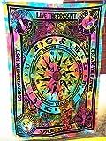 Future Handmade Tapiz de pared de estilo hippie del ciclo de la vida, multicolor, con diseño de mandala indio psicodélico, para playa o como colcha, bohemio, tamaño 2,05 x 1,39 m